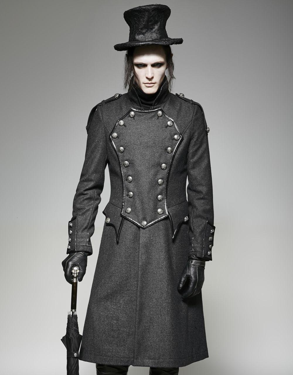 manteau gothique homme trench gris de style gentleman anglais. Black Bedroom Furniture Sets. Home Design Ideas