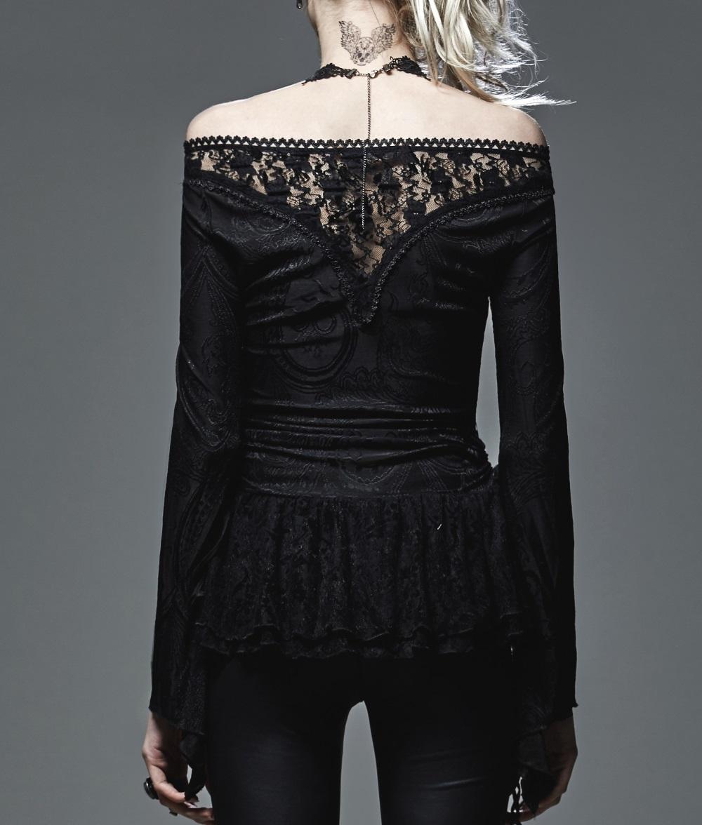 haut gothique femme manches longues orn de broderies et dentelle. Black Bedroom Furniture Sets. Home Design Ideas