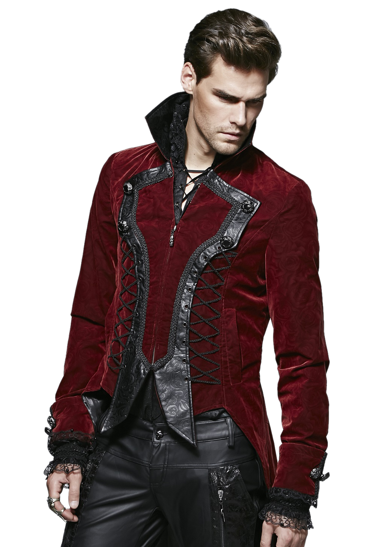 veste gothique homme de type redingote en velours bordeaux. Black Bedroom Furniture Sets. Home Design Ideas
