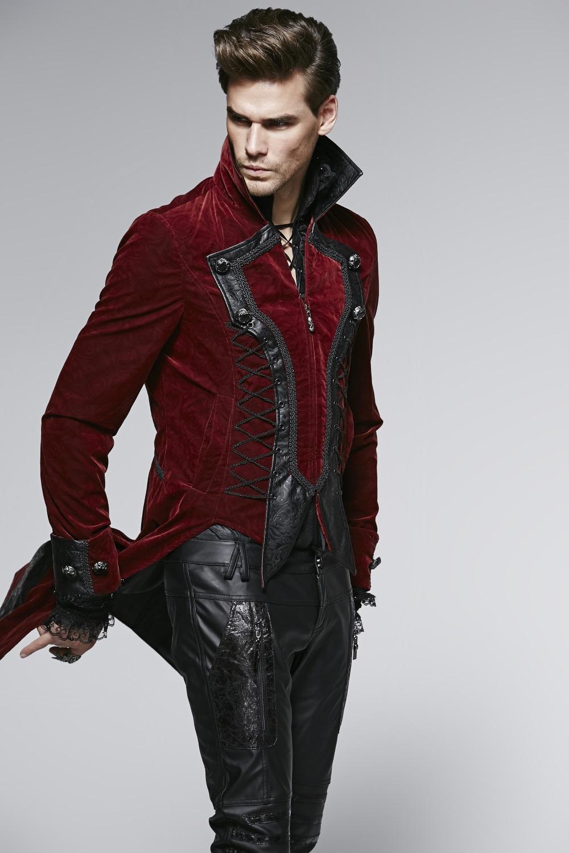 ... Photo n°2   Veste gothique homme en velours bordeaux ... 9e35bb92c88