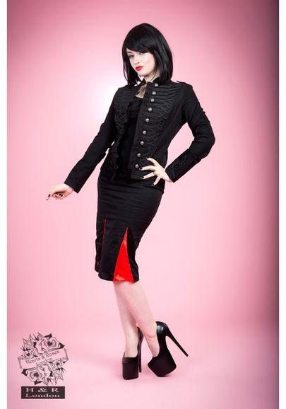 veste gothique militaire femme noire h r london 1009. Black Bedroom Furniture Sets. Home Design Ideas