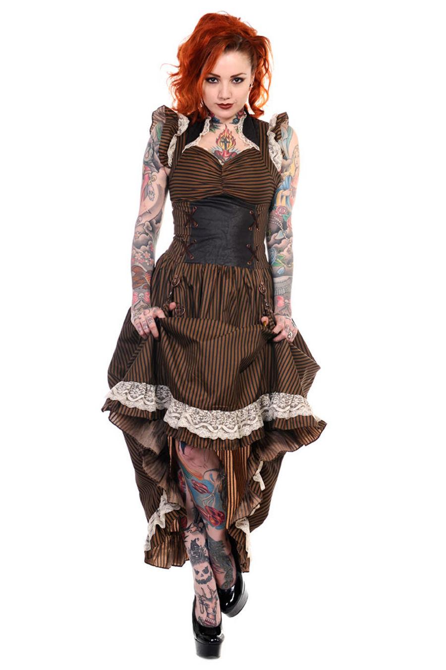 Robe steampunk rétro futuriste BANNED noire et marron