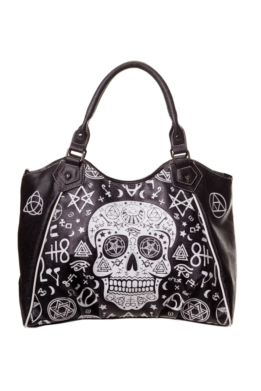 sac main gothique banned en simili cuir noir orn d 39 une t te de mort mexicaine. Black Bedroom Furniture Sets. Home Design Ideas