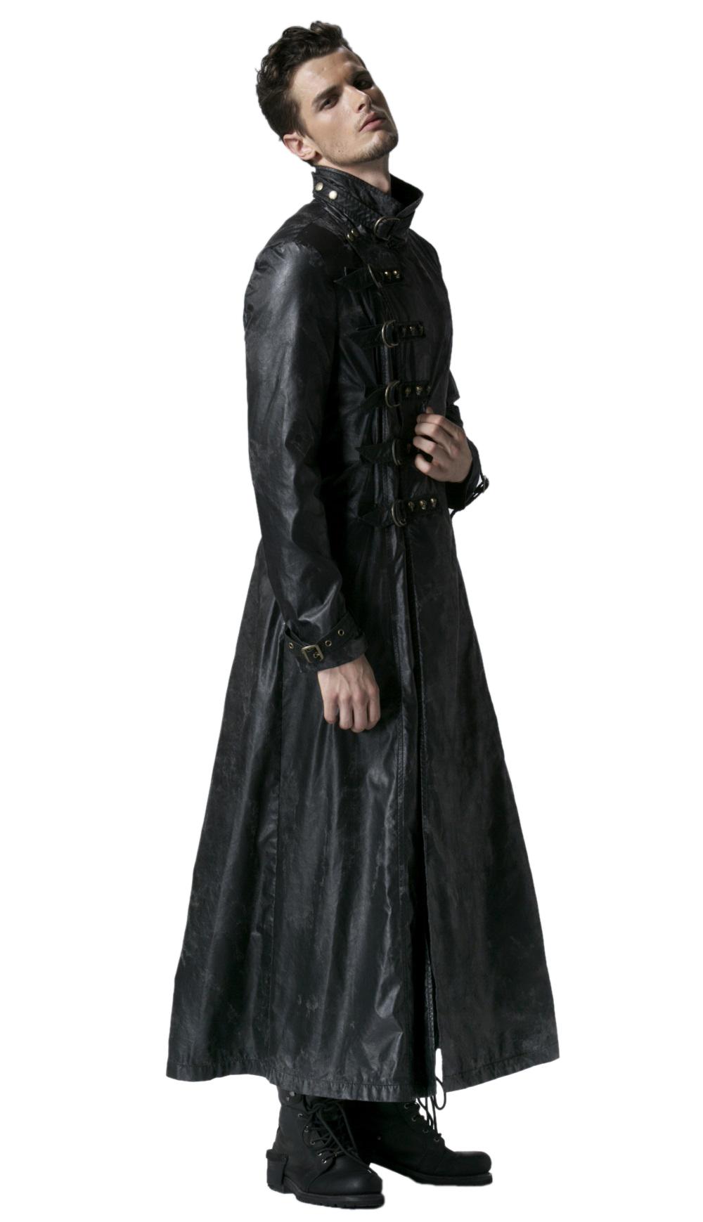 long manteau gothique homme en simili cuir noir punk rave y549. Black Bedroom Furniture Sets. Home Design Ideas