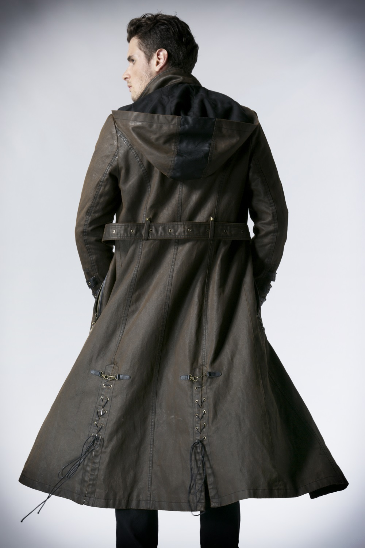 long manteau steampunk homme marron capuche punk rave y550. Black Bedroom Furniture Sets. Home Design Ideas