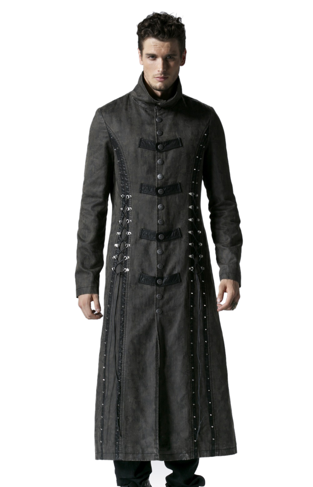 long manteau gothique homme gris d lav punk rave y548. Black Bedroom Furniture Sets. Home Design Ideas