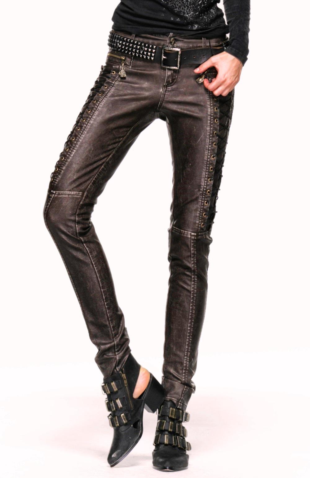 pantalon steampunk femme en simili cuir marron punk rave k202. Black Bedroom Furniture Sets. Home Design Ideas