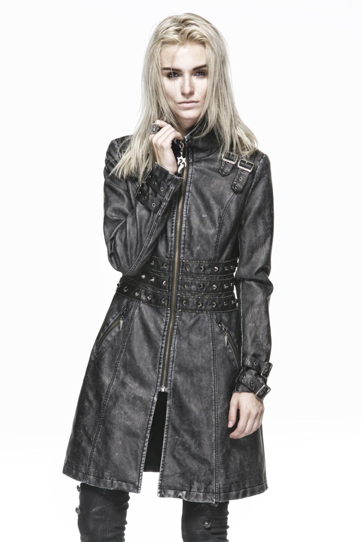 Veste en faux cuir cloutee femme