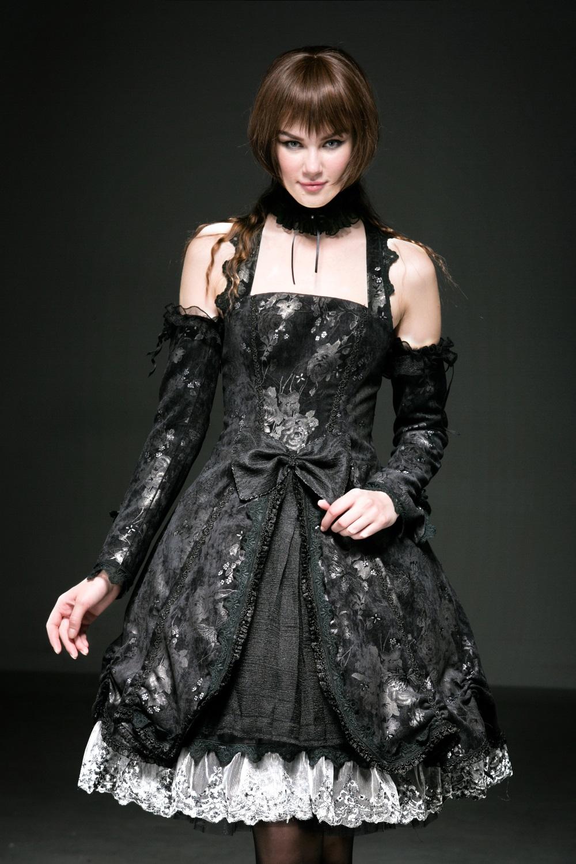 Robe Gothique Lolita Noire Et Grise Pyon Pyon Lq068