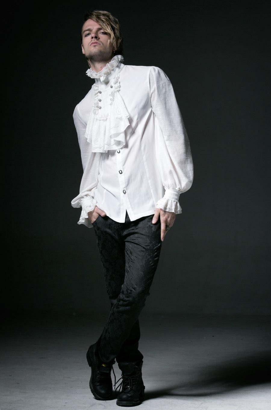 chemise gothique blanche jabot de style baroque pour homme punk rave y522. Black Bedroom Furniture Sets. Home Design Ideas