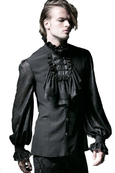 chemise gothique noire jabot de style baroque pour homme punk rave y522. Black Bedroom Furniture Sets. Home Design Ideas