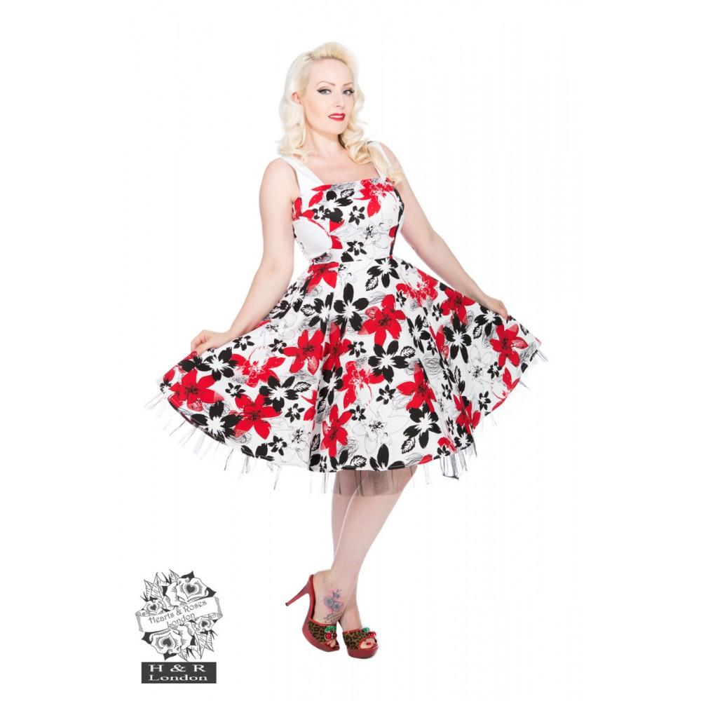 robe pin up r tro blanche d cor e de fleurs rouge. Black Bedroom Furniture Sets. Home Design Ideas