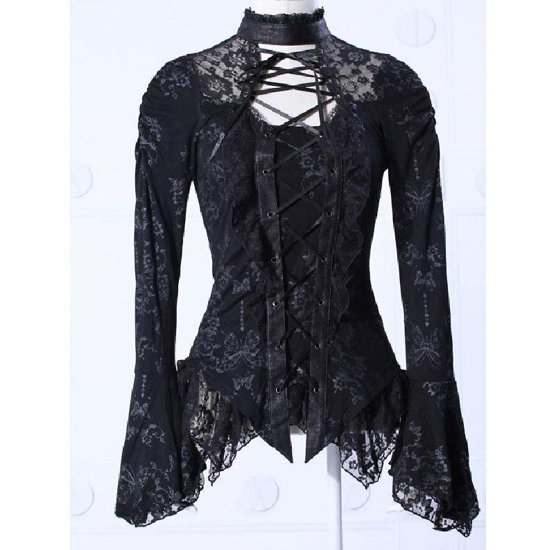 haut gothique femme manches longues rq bl 21037 orn de dentelle. Black Bedroom Furniture Sets. Home Design Ideas