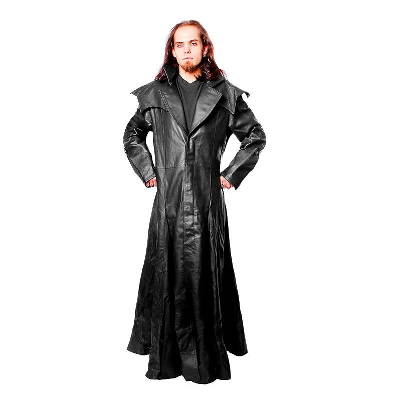 long manteau gothique en cuir noir. Black Bedroom Furniture Sets. Home Design Ideas