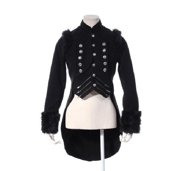 veste gothique noire laine pour femme en queue de pie rq. Black Bedroom Furniture Sets. Home Design Ideas
