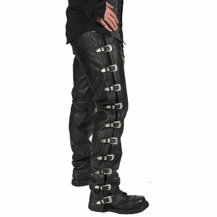 41accffb036 Pantalon gothique homme en cuir noir HARD LEAHTER