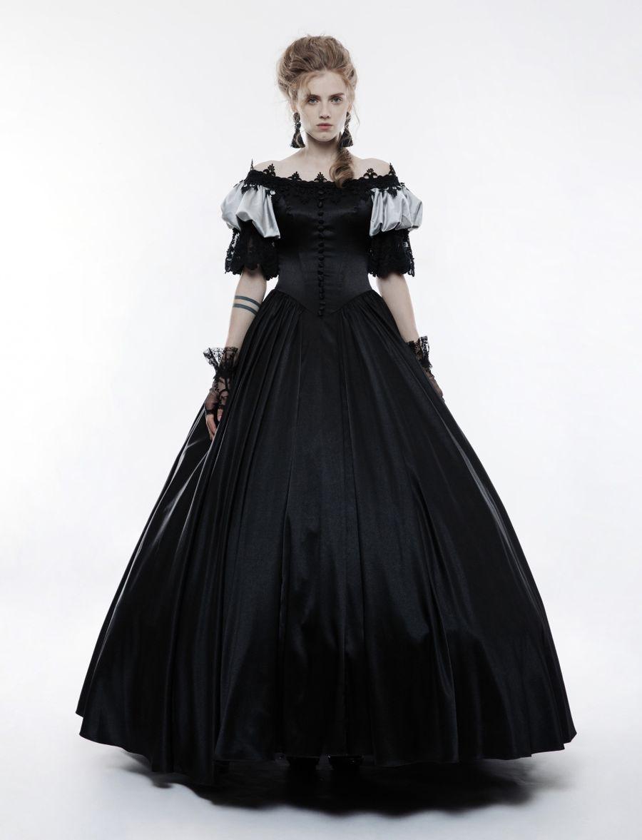 Robe de mariée noire de style gothique victorien