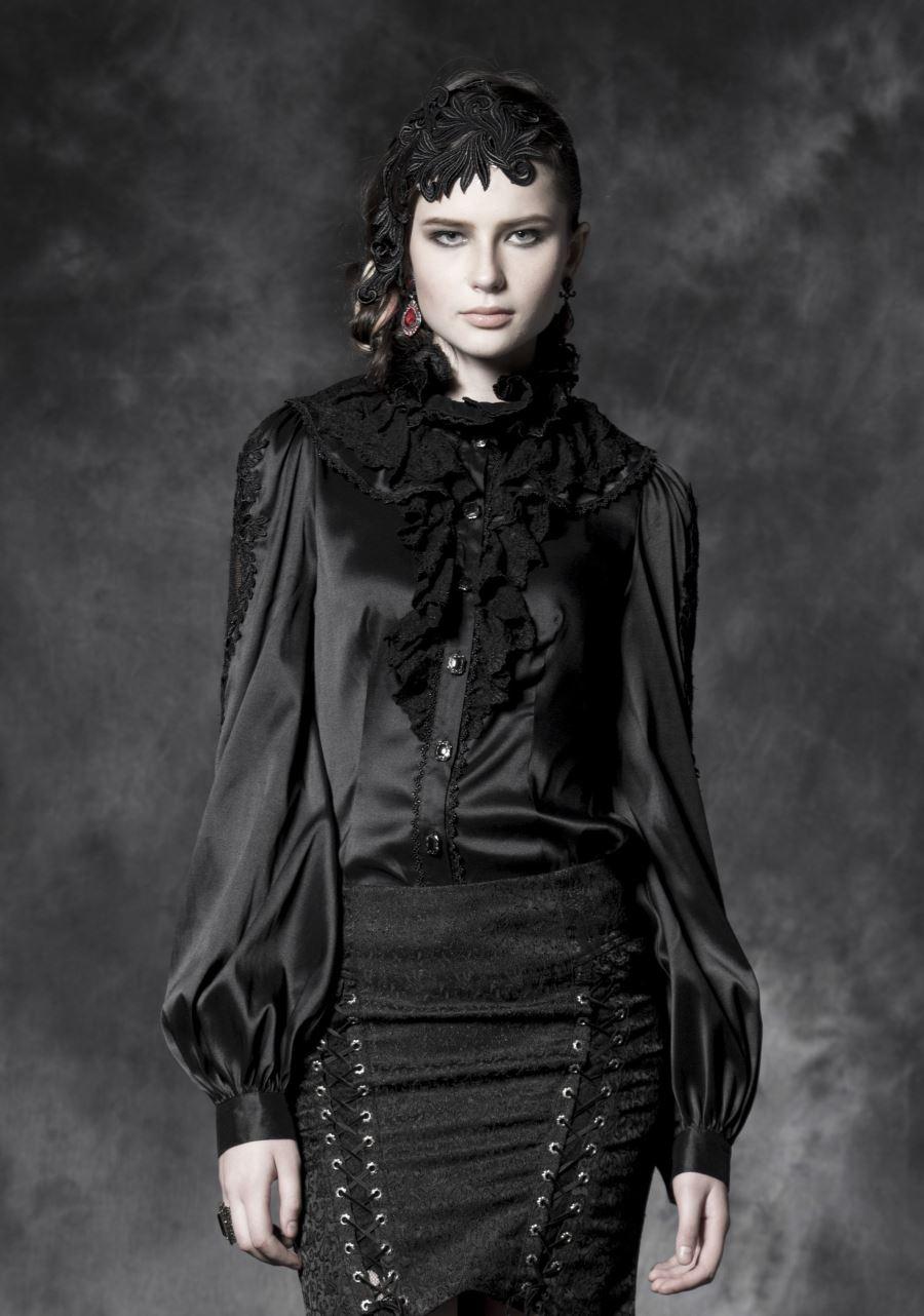 654fbe5f15 Chemisier gothique satin noir PUNK RAVE Chemisier gothique satin noir PUNK  RAVE ...