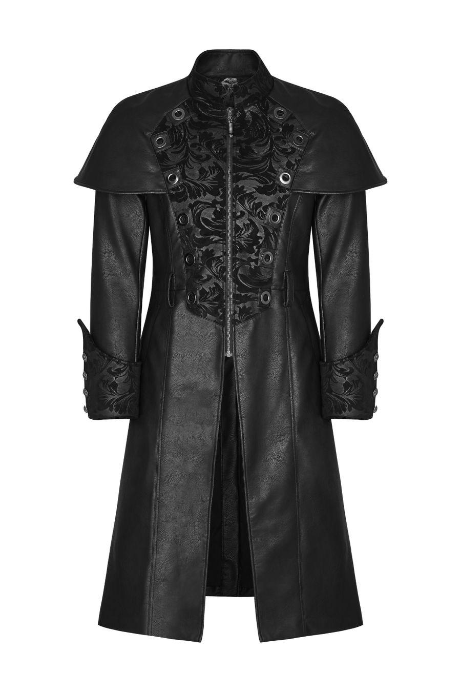 of homme cuir gothique vegan noir style thrones Manteau en game 4ARL35j