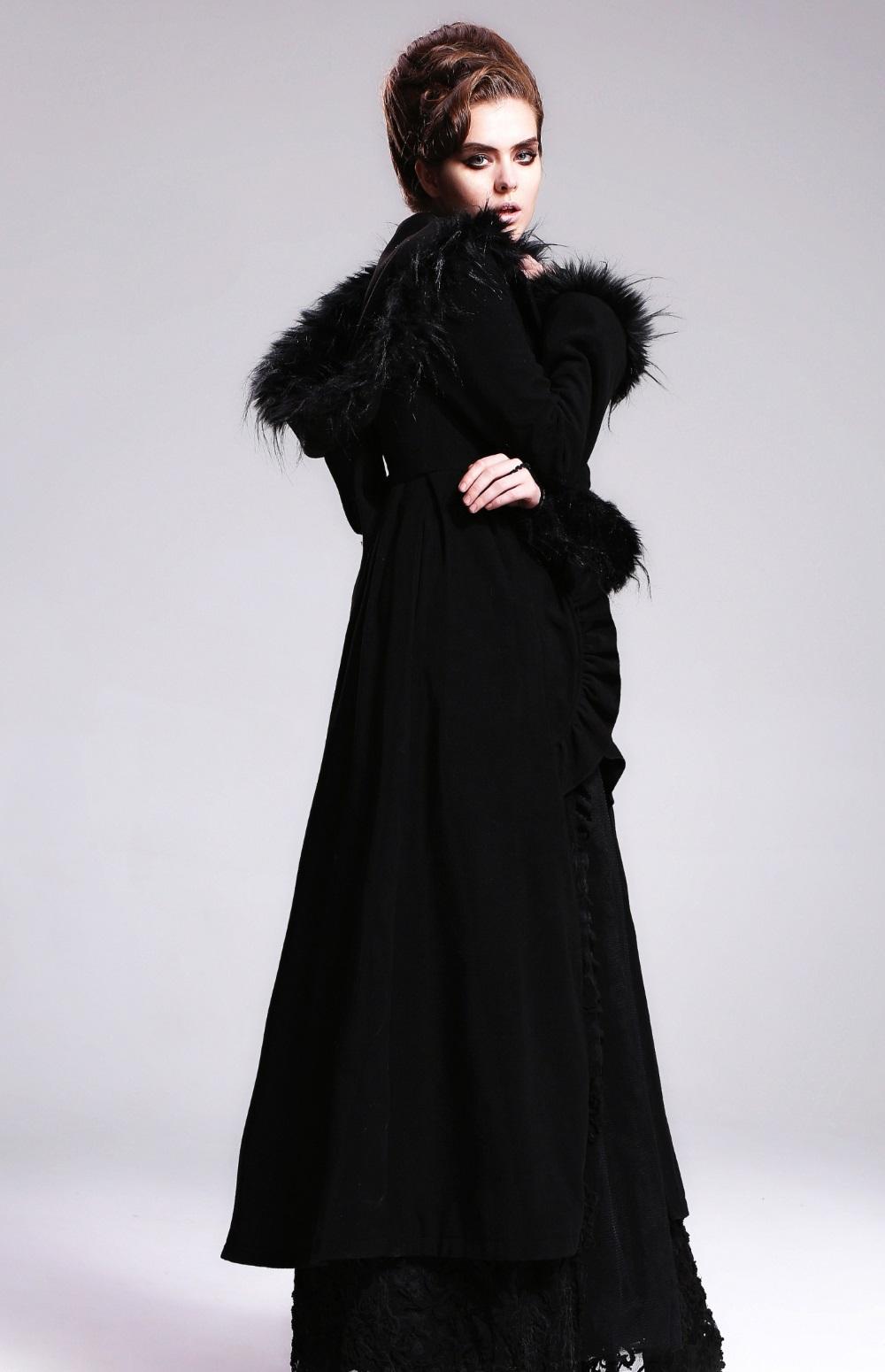 Long manteau gothique femme noir avec capuche sorcière ...