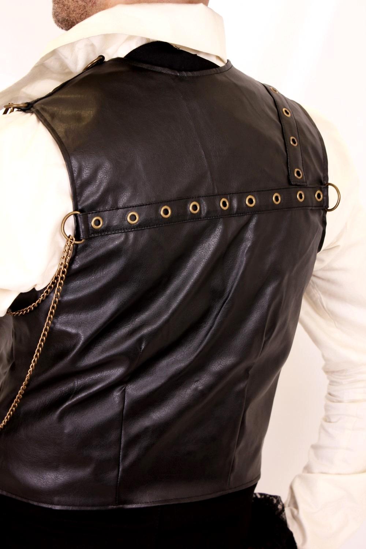 Super Gilet steampunk homme sans manches en simili cuir noir RE84