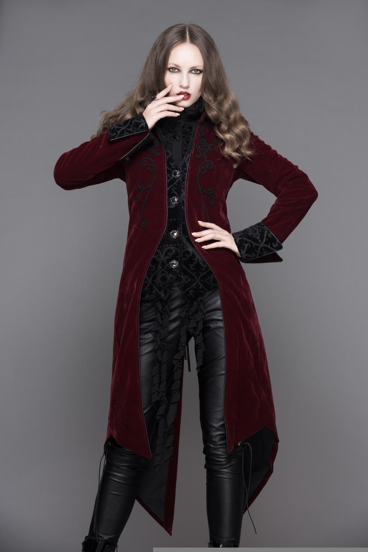 Velours Devil Fashion Pie Bordeaux De En Femme Gothique Queue Veste xg7A7Y f632d78dec1