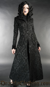 Tissu Clothing En Brocarde Manteau Dracula Gothique Femme Noir R34j5LAq