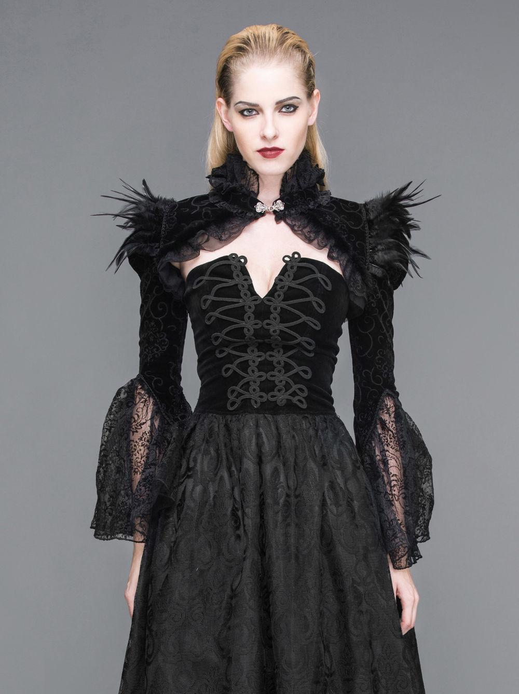 Dark in Love BW048 gothique dentelle romantique Elegent velours PETIT BOLERO Capelet