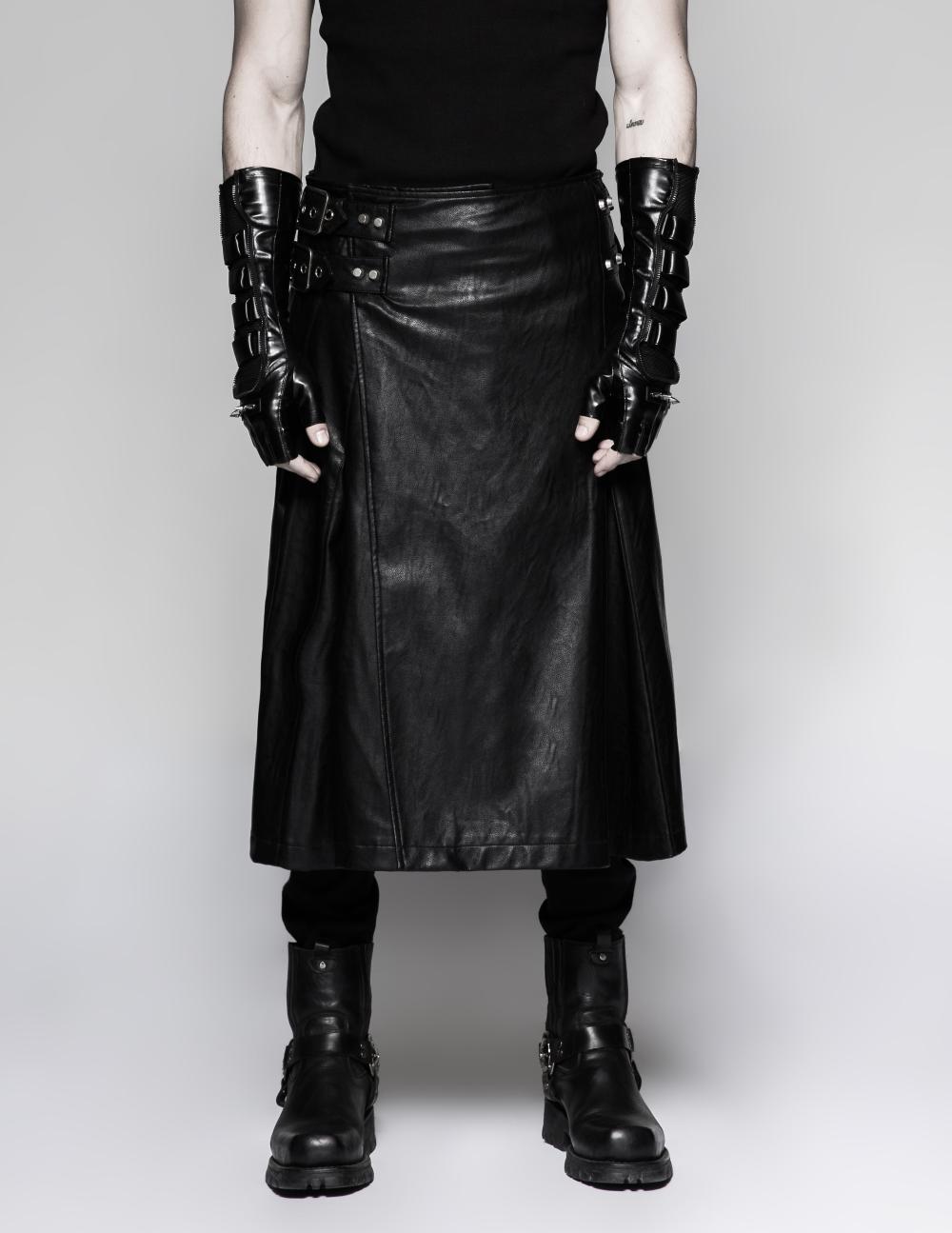 jupe gothique homme en simili cuir noir punk rave. Black Bedroom Furniture Sets. Home Design Ideas