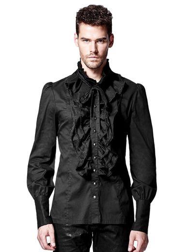 chemise gothique homme jabot de couleur noire. Black Bedroom Furniture Sets. Home Design Ideas