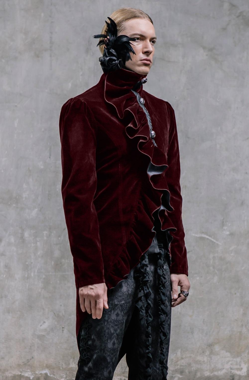 Veste gothique queue de pie en velours bordeaux pour homme
