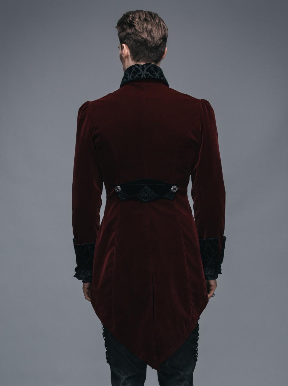 veste gothique queue de pie en velours bordeaux pour homme. Black Bedroom Furniture Sets. Home Design Ideas