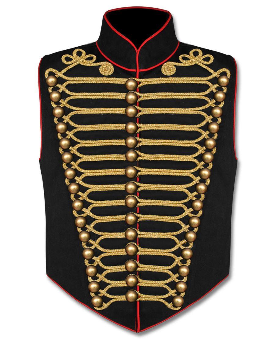 veste officier steampunk noire sans manches avec broderies or. Black Bedroom Furniture Sets. Home Design Ideas