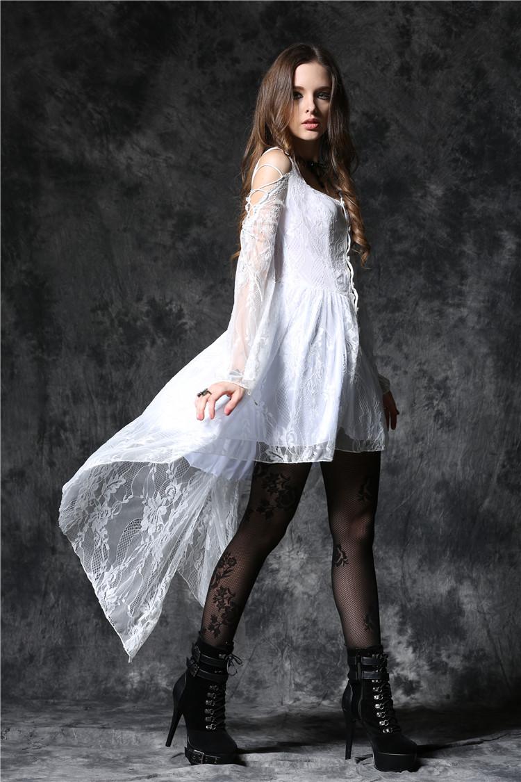 Robe gothique blanche en dentelle DARK IN LOVE White Kimono Ghost