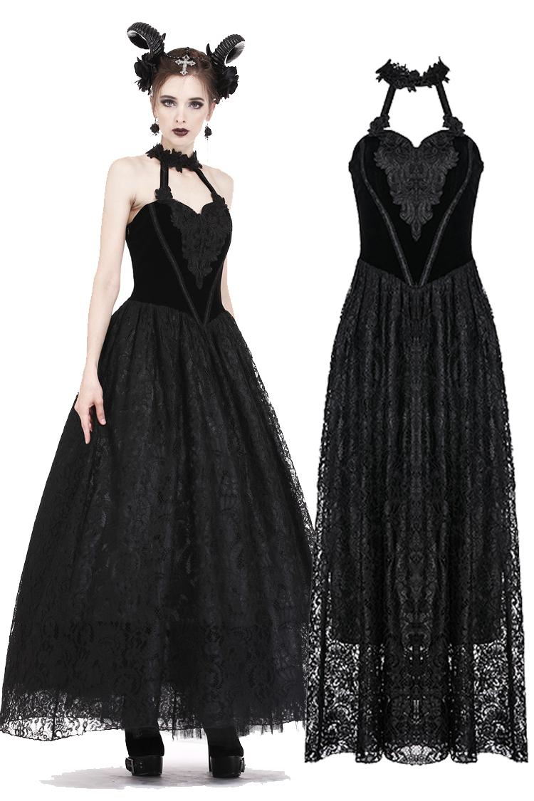 Longue Robe Gothique Velours Noir De Style Romantique Dark In Love