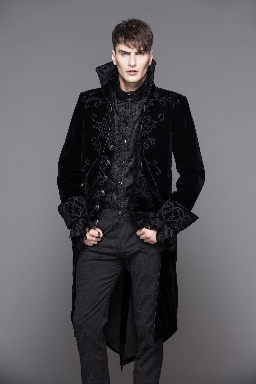 veste queue de pie pour homme devil fashion en velours noir. Black Bedroom Furniture Sets. Home Design Ideas