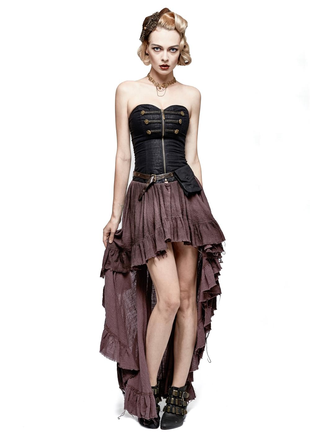 Robe steampunk noire et marron PUNK RAVE q311
