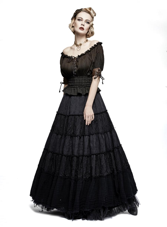 Haut steampunk femme marron PUNK RAVE effet vintage