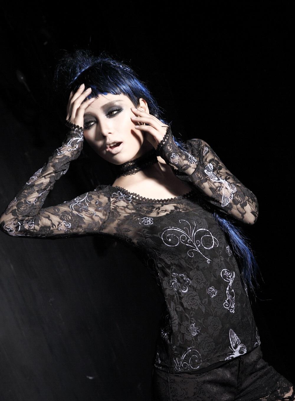 haut gothique femme dentelle punk rave t297 avec accroche. Black Bedroom Furniture Sets. Home Design Ideas