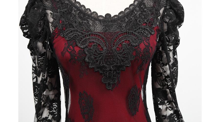 Robe dentelle noire fond rouge