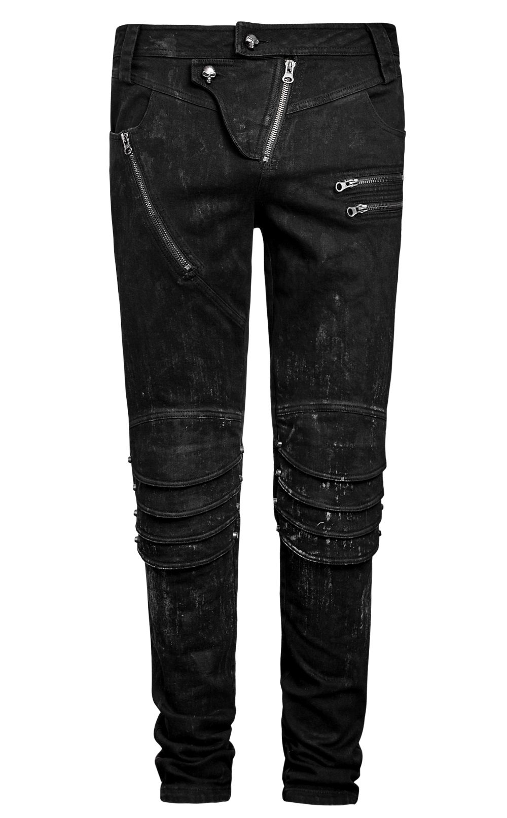 pantalon noir effet d lav punk rave de style gothique rock pour homme. Black Bedroom Furniture Sets. Home Design Ideas