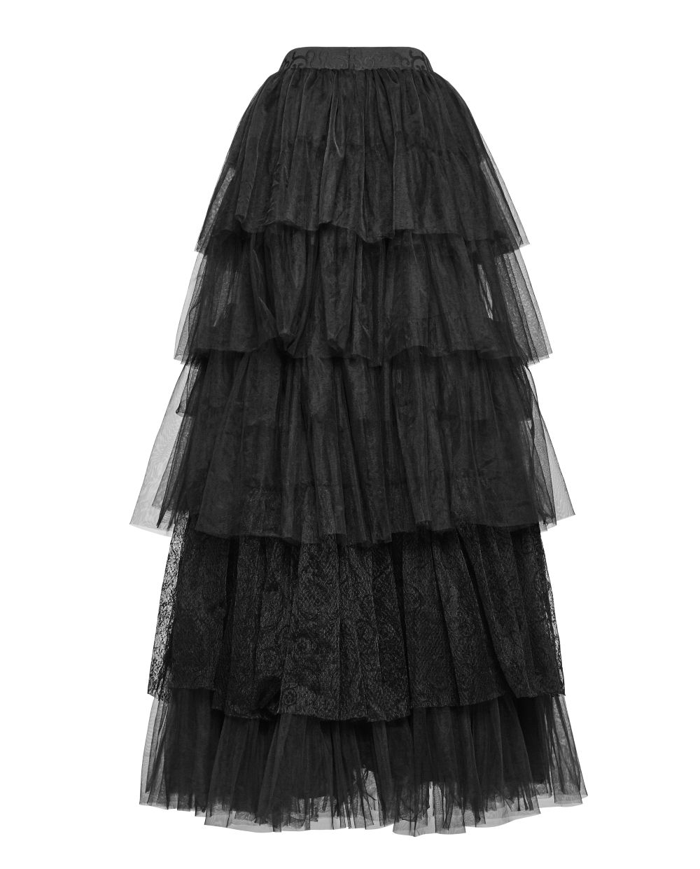 baf5f60fb631f6 Longue jupe gothique victorienne noire style princesse en tulle et dentelle