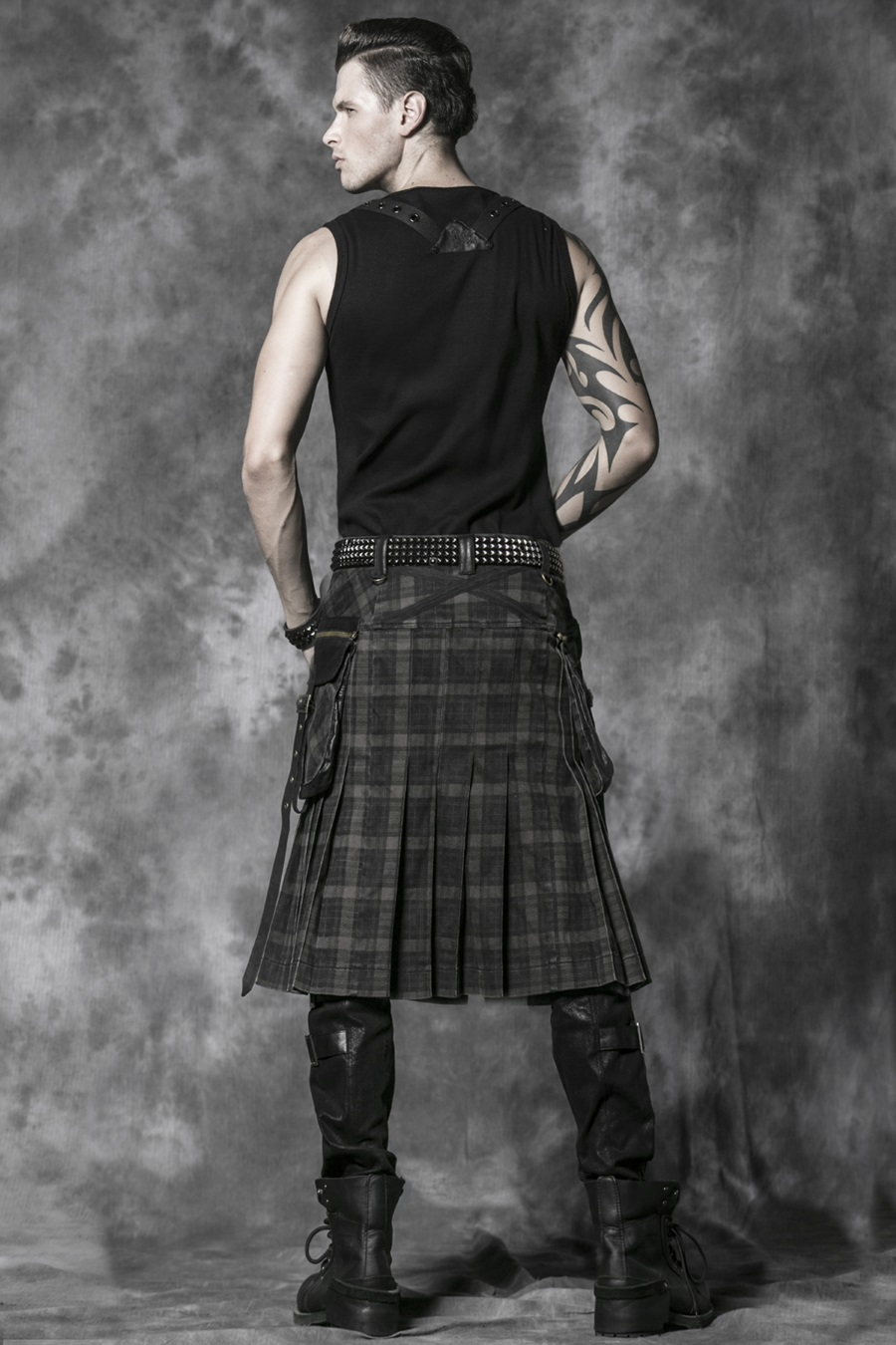 kilt gothique punk rave en tissu cossais marron. Black Bedroom Furniture Sets. Home Design Ideas