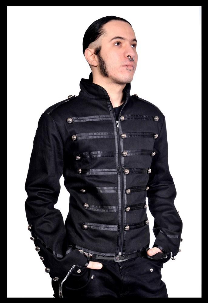 veste homme noire style officier avec boutons couleur argent. Black Bedroom Furniture Sets. Home Design Ideas