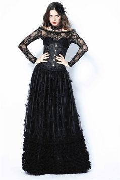 1634fc7d2df Longue Jupe gothique noire DARK IN LOVE recouverte de dentelle
