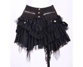 3dc43342f85419 Jupe gothique lolita RQ-BL noire 21034 de coupe asymétrique