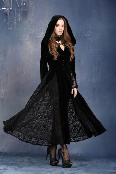 robe gothique vampire en velours noir dark in love jw011. Black Bedroom Furniture Sets. Home Design Ideas