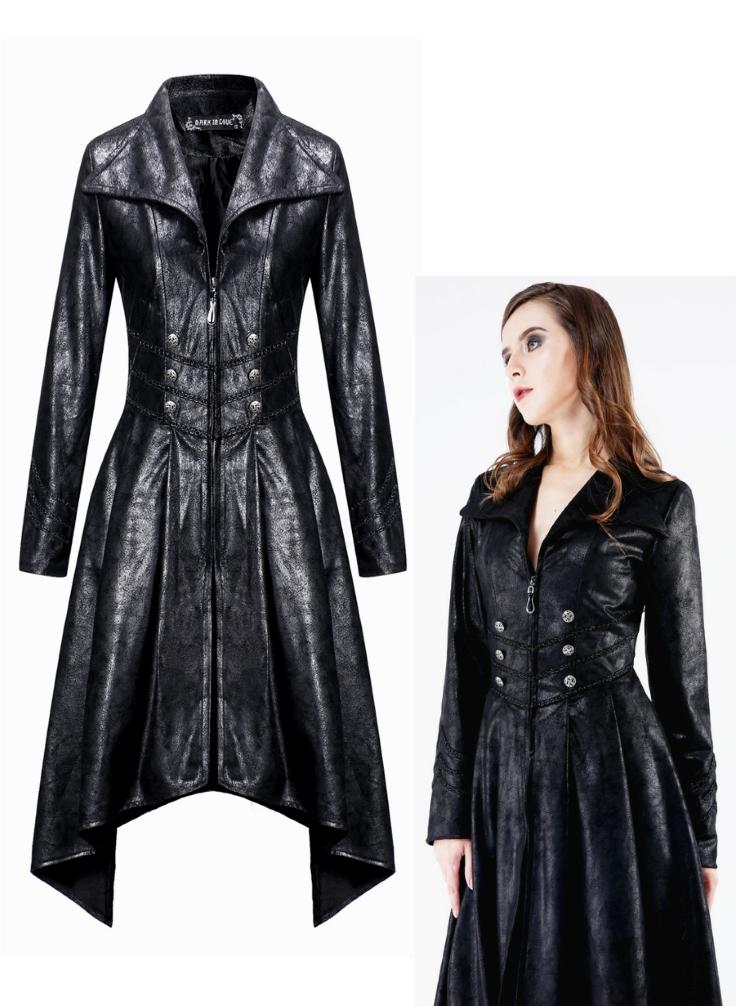 veste longue simili cuir femme