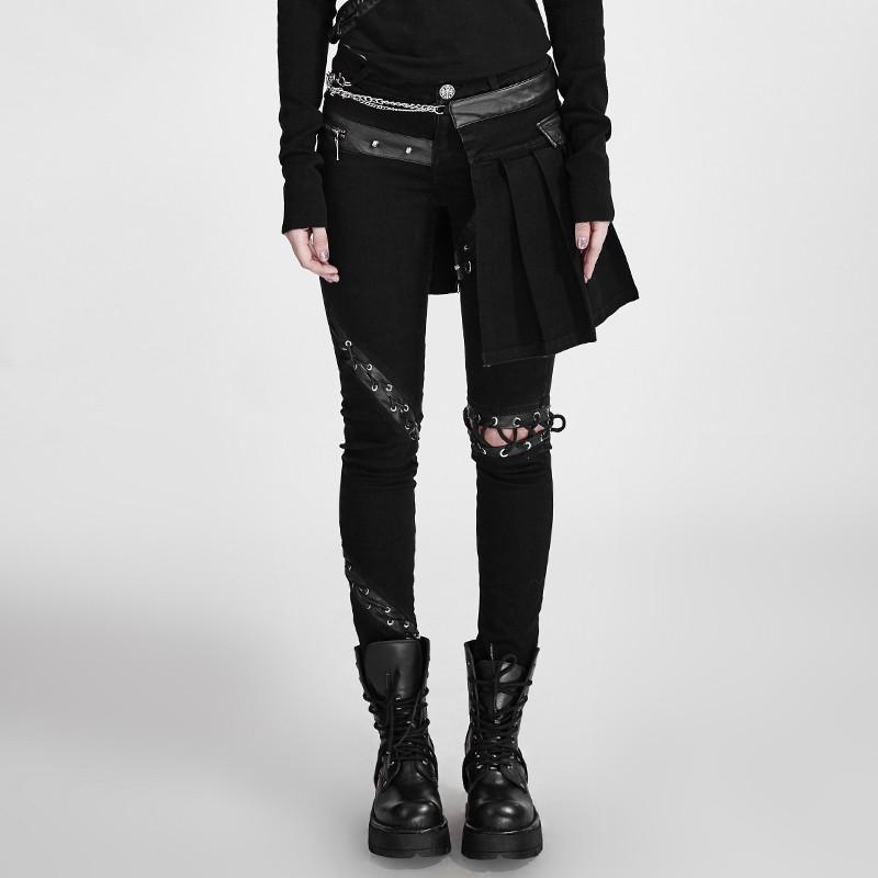 Rave Femme Punk Avec Gothique Surjupe Pantalon Amovible Rj4A5L3