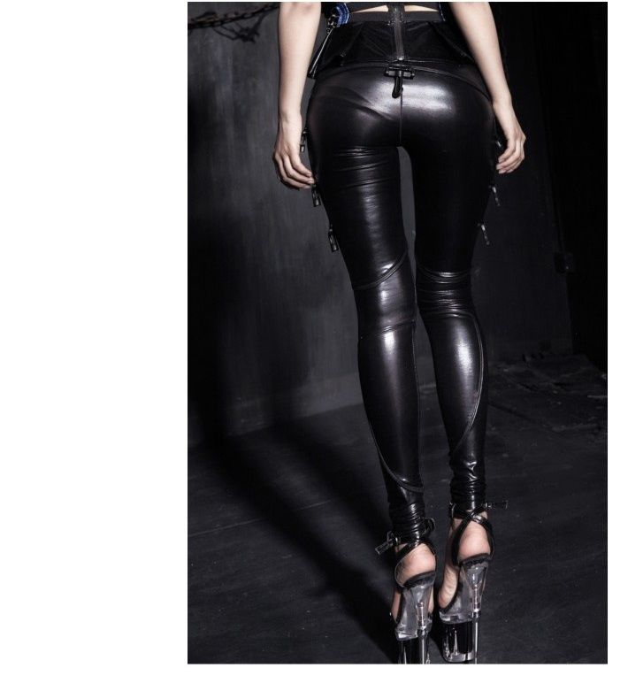 leggings gothique simili cuir punk rave style cyber. Black Bedroom Furniture Sets. Home Design Ideas